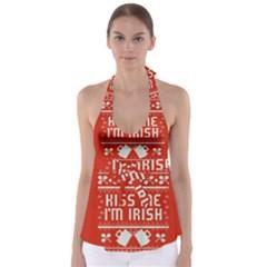 Kiss Me I m Irish Ugly Christmas Red Background Babydoll Tankini Top