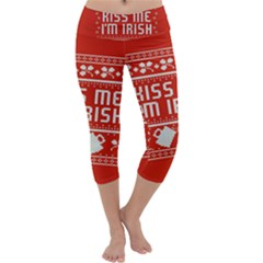 Kiss Me I m Irish Ugly Christmas Red Background Capri Yoga Leggings