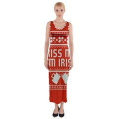 Kiss Me I m Irish Ugly Christmas Red Background Fitted Maxi Dress