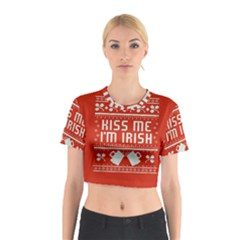 Kiss Me I m Irish Ugly Christmas Red Background Cotton Crop Top