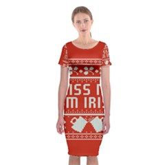 Kiss Me I m Irish Ugly Christmas Red Background Classic Short Sleeve Midi Dress