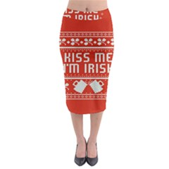 Kiss Me I m Irish Ugly Christmas Red Background Midi Pencil Skirt