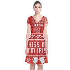 Kiss Me I m Irish Ugly Christmas Red Background Short Sleeve Front Wrap Dress