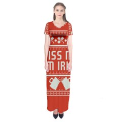 Kiss Me I m Irish Ugly Christmas Red Background Short Sleeve Maxi Dress