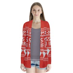 Kiss Me I m Irish Ugly Christmas Red Background Drape Collar Cardigan