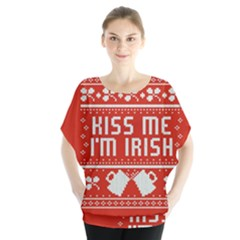 Kiss Me I m Irish Ugly Christmas Red Background Blouse
