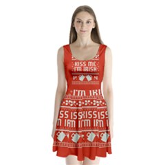 Kiss Me I m Irish Ugly Christmas Red Background Split Back Mini Dress