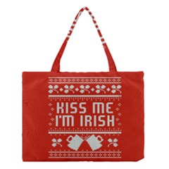 Kiss Me I m Irish Ugly Christmas Red Background Medium Tote Bag