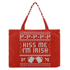 Kiss Me I m Irish Ugly Christmas Red Background Medium Zipper Tote Bag