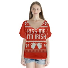 Kiss Me I m Irish Ugly Christmas Red Background Flutter Sleeve Top