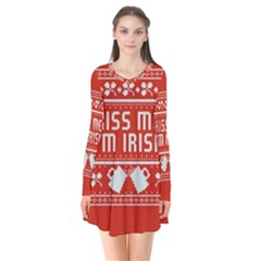 Kiss Me I m Irish Ugly Christmas Red Background Flare Dress