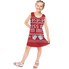 Kiss Me I m Irish Ugly Christmas Red Background Kids  Tunic Dress