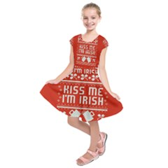 Kiss Me I m Irish Ugly Christmas Red Background Kids  Short Sleeve Dress