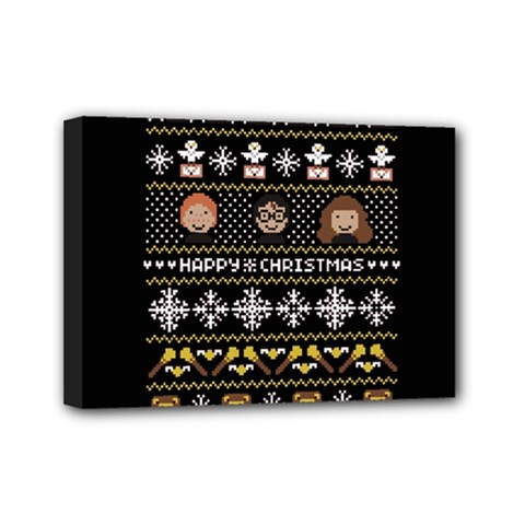 Merry Nerdmas! Ugly Christma Black Background Mini Canvas 7  x 5
