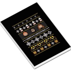 Merry Nerdmas! Ugly Christma Black Background Large Memo Pads