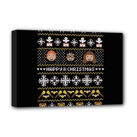 Merry Nerdmas! Ugly Christma Black Background Deluxe Canvas 18  x 12