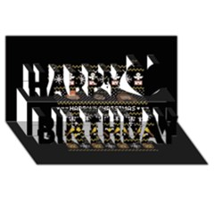 Merry Nerdmas! Ugly Christma Black Background Happy Birthday 3D Greeting Card (8x4)