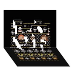 Merry Nerdmas! Ugly Christma Black Background Love 3d Greeting Card (7x5)
