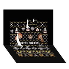 Merry Nerdmas! Ugly Christma Black Background Apple 3D Greeting Card (7x5)