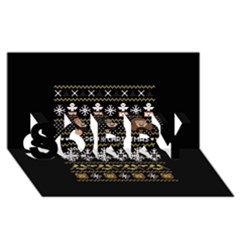 Merry Nerdmas! Ugly Christma Black Background SORRY 3D Greeting Card (8x4)