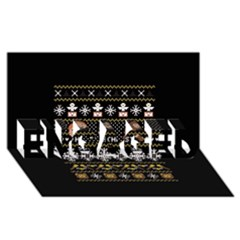 Merry Nerdmas! Ugly Christma Black Background ENGAGED 3D Greeting Card (8x4)