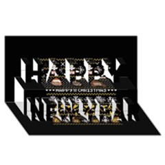 Merry Nerdmas! Ugly Christma Black Background Happy New Year 3D Greeting Card (8x4)