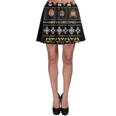 Merry Nerdmas! Ugly Christma Black Background Skater Skirt