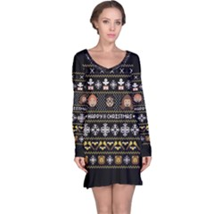 Merry Nerdmas! Ugly Christma Black Background Long Sleeve Nightdress