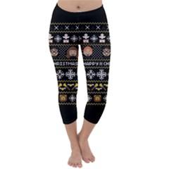 Merry Nerdmas! Ugly Christma Black Background Capri Winter Leggings