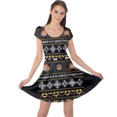 Merry Nerdmas! Ugly Christma Black Background Cap Sleeve Dresses