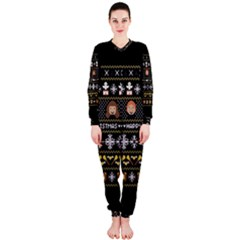 Merry Nerdmas! Ugly Christma Black Background OnePiece Jumpsuit (Ladies)