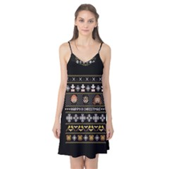 Merry Nerdmas! Ugly Christma Black Background Camis Nightgown