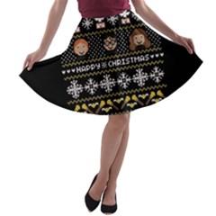 Merry Nerdmas! Ugly Christma Black Background A-line Skater Skirt