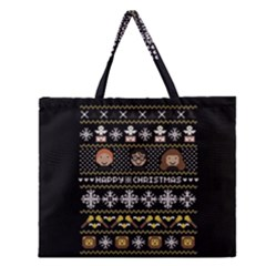 Merry Nerdmas! Ugly Christma Black Background Zipper Large Tote Bag