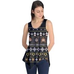Merry Nerdmas! Ugly Christma Black Background Sleeveless Tunic