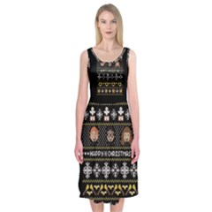 Merry Nerdmas! Ugly Christma Black Background Midi Sleeveless Dress