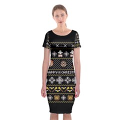 Merry Nerdmas! Ugly Christma Black Background Classic Short Sleeve Midi Dress