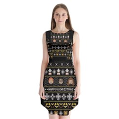 Merry Nerdmas! Ugly Christma Black Background Sleeveless Chiffon Dress