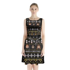 Merry Nerdmas! Ugly Christma Black Background Sleeveless Chiffon Waist Tie Dress