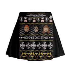 Merry Nerdmas! Ugly Christma Black Background Mini Flare Skirt