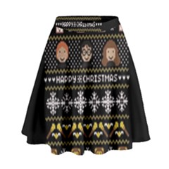 Merry Nerdmas! Ugly Christma Black Background High Waist Skirt