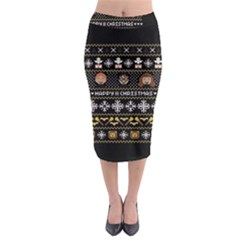 Merry Nerdmas! Ugly Christma Black Background Midi Pencil Skirt