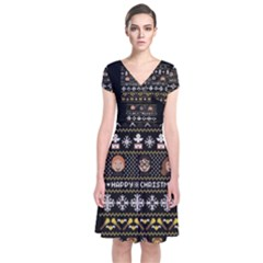 Merry Nerdmas! Ugly Christma Black Background Short Sleeve Front Wrap Dress