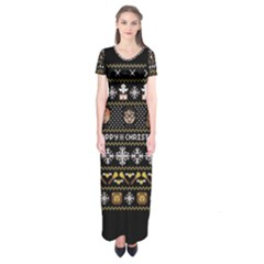 Merry Nerdmas! Ugly Christma Black Background Short Sleeve Maxi Dress