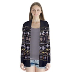 Merry Nerdmas! Ugly Christma Black Background Drape Collar Cardigan