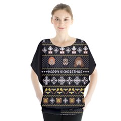 Merry Nerdmas! Ugly Christma Black Background Blouse