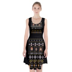 Merry Nerdmas! Ugly Christma Black Background Racerback Midi Dress