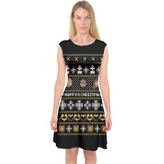 Merry Nerdmas! Ugly Christma Black Background Capsleeve Midi Dress