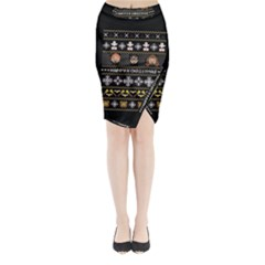 Merry Nerdmas! Ugly Christma Black Background Midi Wrap Pencil Skirt