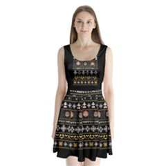 Merry Nerdmas! Ugly Christma Black Background Split Back Mini Dress